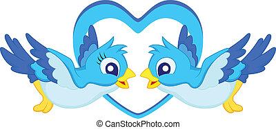 Blue bird cartoon couple