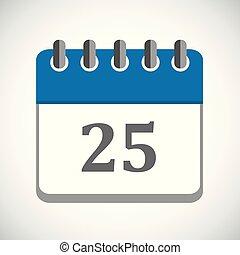 vector illustration of blue calendar 25 icon