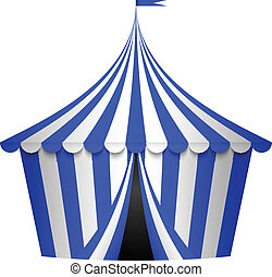 Vector illustration of blue circus tent