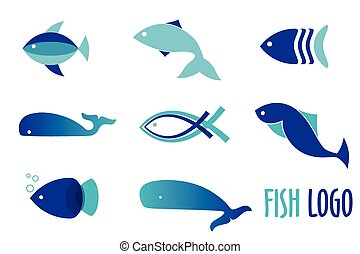 Vector illustration of blue colors fishes. Abstract fish logo set for seafood restaurant or fish shop.