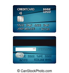 Vector illustration of blue credit card isolated on white background