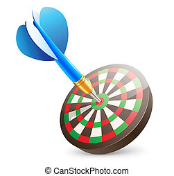 dartboard - Vector illustration of blue dart hitting in the...