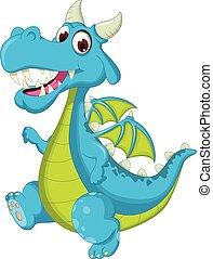 blue dragon cartoon walking