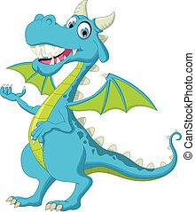 blue dragon cartoon waving