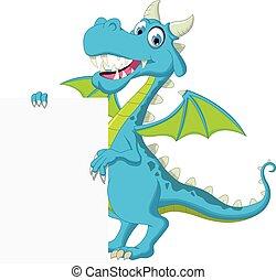 blue dragon cartoon with blank sign