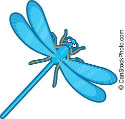 Vector illustration of blue dragonfly