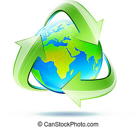 recycle symbol - Vector illustration of blue glossy earth...