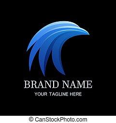 Blue head bird logo template