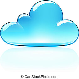 cloud icon - Vector illustration of blue internet cloud icon