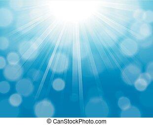 Blue lights shining with bokeh