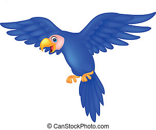 Blue parrot cartoon flying