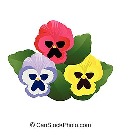 Vector illustration of blue pink and yellow pansy flowers ...