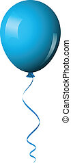 blue shiny balloon - Vector illustration of blue shiny...