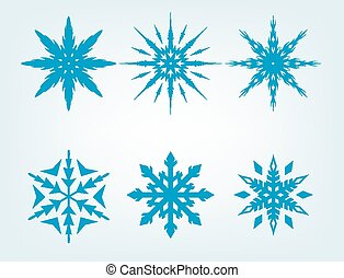 Blue Snowflake Vector Set