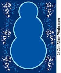 Blue Snowman Border