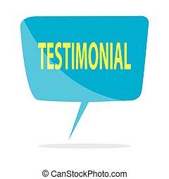 Testimonial - Vector illustration of blue speech balloon ...