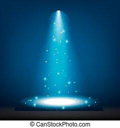 Blue spotlight shining with sprinkles