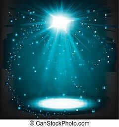 Blue spotlight shining with sprinkles floating