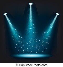 Blue spotlights shining