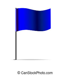Vector illustration of blue triangular flag. 10 eps