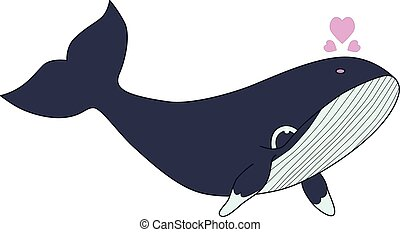 Vector illustration of Blue whale with hearts isolated on white background