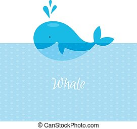 Blue whale with sea - Vector illustration of Blue whale with...
