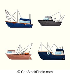 Vector illustration of boat and fishing icon. Set of boat and vessel stock symbol for web.