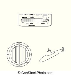 Vector illustration of boat and navy logo. Collection of boat and deep stock symbol for web.