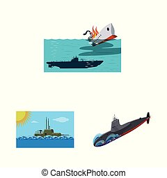 Vector illustration of boat and navy sign. Set of boat and deep stock symbol for web.
