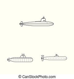 Vector illustration of boat and navy symbol. Set of boat and deep stock symbol for web.