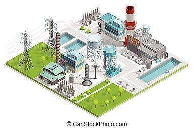 Vector Illustration Of Boiler Factory - Vector illustration...