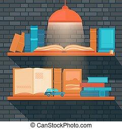 Vector illustration of bookshelf.