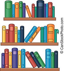 Bookshelf with colorful books