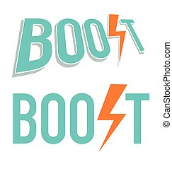 Vector illustration of Boost word in blue and orange colors