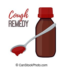 Vector illustration of bottle with cough remedy, liquid medicine. Cartoon flat style