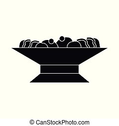 Vector illustration of bowl and cake logo. Set of bowl and dessert stock symbol for web.