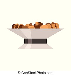 Vector illustration of bowl and cake symbol. Collection of bowl and dessert vector icon for stock.