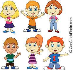 Boy and girl cartoon set - Vector illustration of Boy and...