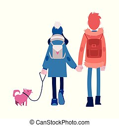 Vector illustration of boy and girl in autumn clothes with backpacks and pet dog holding hands and walking.