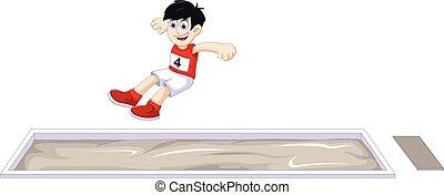boy athlete doing long jump