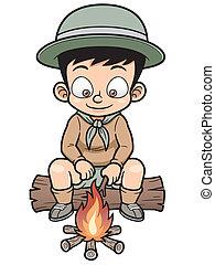 Boy - Vector illustration of Boy camping