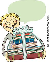 Boy carrying Stack of Books with Ribbon