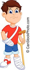 Boy cartoon broken arm and leg - vector illustration of Boy...