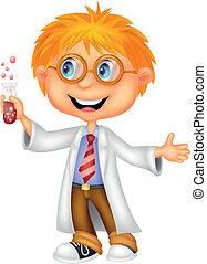 Vector illustration of Boy cartoon doing holding reaction tube