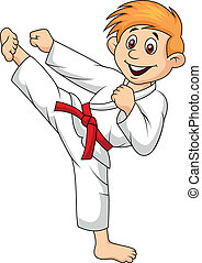 Vector illustration of Boy cartoon doing martial art