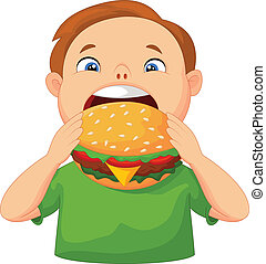 Boy cartoon eating burger
