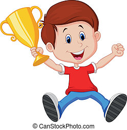 Boy cartoon holding gold trophy