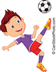 Boy cartoon playing football - Vector illustration of Boy...