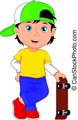 boy cartoon playing skateboard