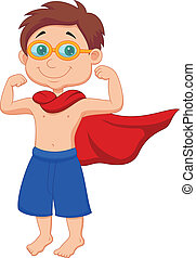 Boy cartoon pretending to be a Supe - Vector illustration of...
